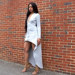 Gray high low sweatshirt dress